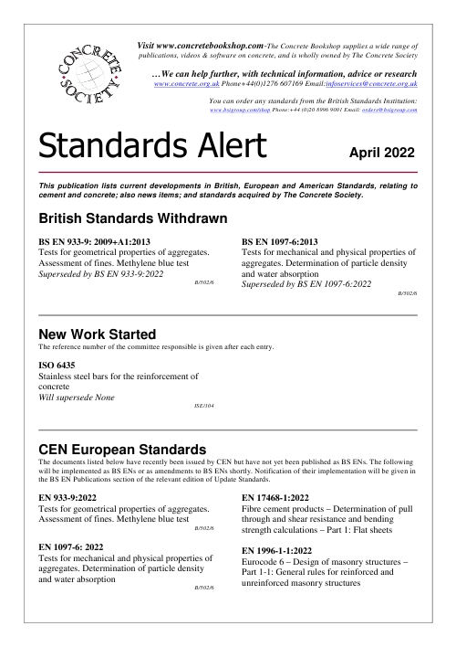 Click here to read the latest Standards Alert bulletin